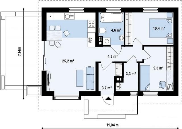план каркасного дома ЛТ 01